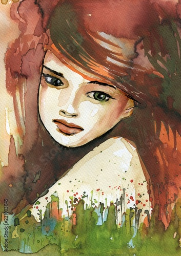 Keuken foto achterwand Schilderkunstige Inspiratie Watercolor illustration depicting a fancy woman's portrait.