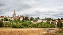 Panoramic View Of City Of Autun Including Cathedral In Autun, Burgundy, France On 30 August 2018