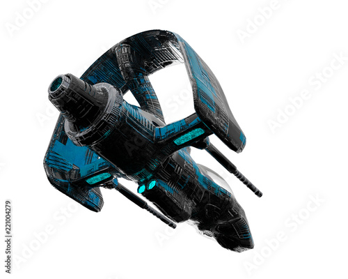 Canvas-taulu black and blue aircraft alien space ship exploring around