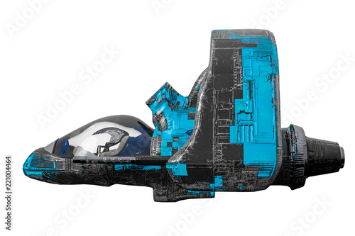 black and blue aircraft alien space ship exploring around
