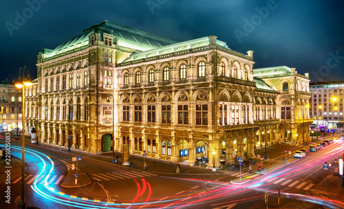 Vienna State Opera at night, Vienna, Austria. Canvas Print