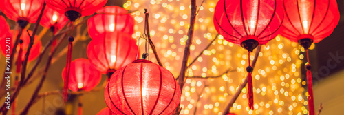 Fototapeta Chinese lanterns during new year festival. Vietnamese New Year BANNER, long format obraz