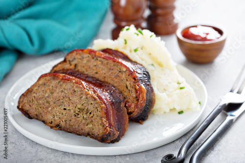 Meatloaf with mashed potatoes Canvas Print