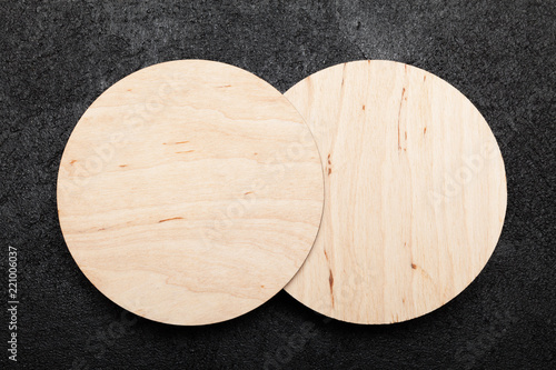 Wooden beer coaster, wood design concept. Round template, mockup.