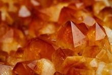 Mineral Citrine Quartz Cluster Crystal Texture