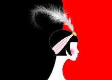 Flapper Girl, Retro Woman Of Twenties. Retro Party Invitation Design With A Beautiful Portrait 1920s Style, Fashion Silhouette With Feather, Art Print Luxury Deco, Vector Isolated Or Red Background