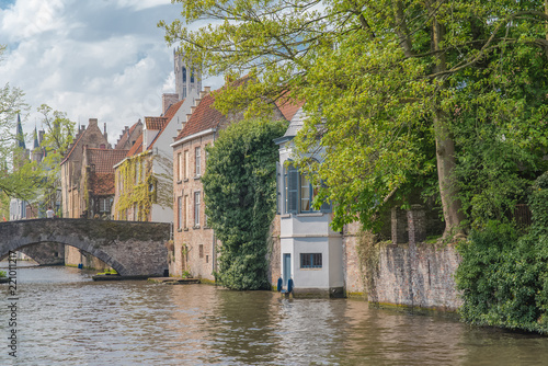 Poster Brugge Bruges in Belgium, beautiful typical houses on the canal
