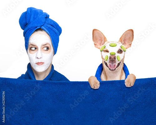 Deurstickers Crazy dog wellness beauty mask girl and dog