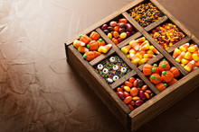 Halloween Candy In A Wooden Box