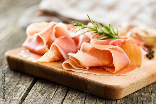 Poster Vlees Italian prosciutto crudo or jamon.
