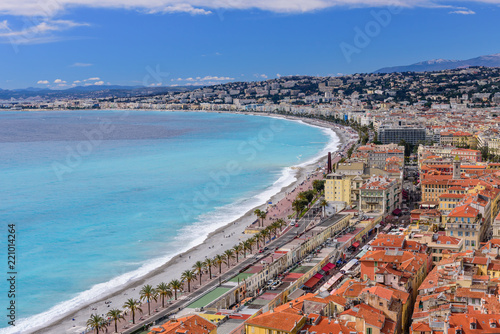 Tuinposter Nice Cote d'azur, France. Beautiful panoramic aerial view of city of Nice. Luxury resort of French riviera. Front view of the Mediterranean sea, the bay of Angels