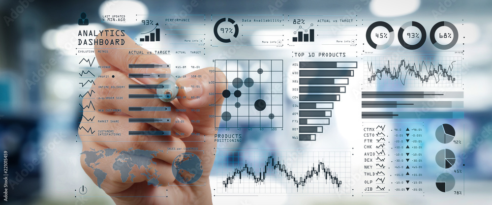 Fototapeta Intelligence (BI) and business analytics (BA) with key performance indicators (KPI) dashboard concept.business documents on office table with smart phone and digital tablet and graph
