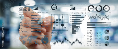 Cuadros en Lienzo  Intelligence (BI) and business analytics (BA) with key performance indicators (KPI) dashboard concept