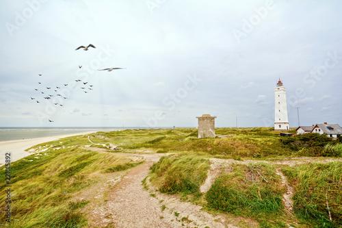 Carta da parati Lighthouse and old bunker in the sand dunes on the beach of Blavand, Jutland Den