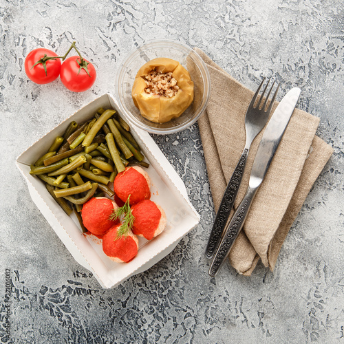 Tuinposter Assortiment Cooked string beans