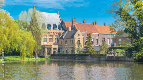 Bruges in Belgium, beautiful typical houses on the canal, with a willow tree