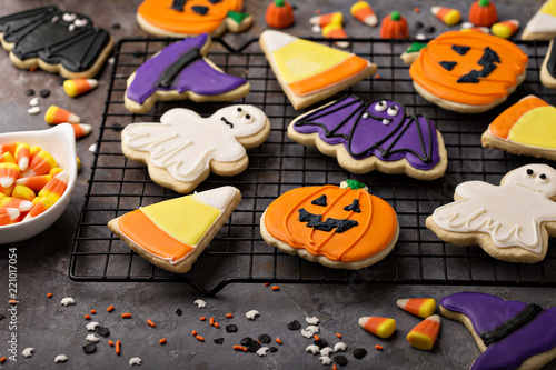 Fototapeta Halloween cookies decorated with royal icing obraz