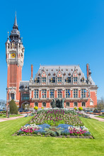 Calais, The Magnificent City Hall In Spring, In The North Of France