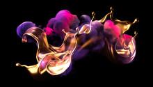 Splash Of Gold And Smoke On A Black Background. 3d Illustration, 3d Rendering.