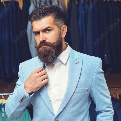 Super Handsome Stylish Bearded Man Model Posing Wearing Blue Suit Natural Hairstyles Runnerswayorg