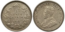 Canada Canadian Silver Coin 5 Five Cents 1913, Face Value Surrounded By Branches With Leaves, Crown Above, Bust Of King George V In Ceremonial Vestments Left,