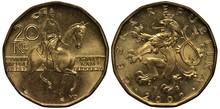 Czech Coin 20 Twenty Korun 2002, St, Wenceslas (Duke Vaclav) On Horse, Crowned Czech Lion Above Date,