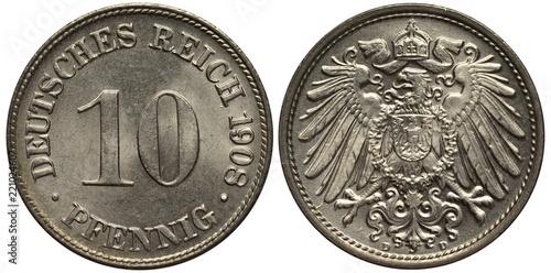 Fotografie, Obraz  Germany German coin 10 ten pfennig 1908, large digit of value in center, imperia