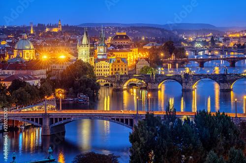 Photo sur Toile Rome Prague city, bridges over Vltava river, Czech Republic