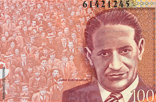 Fotografía  Jorge Eliecer Gaitan portrait on Colombia currency 1000 peso (2015) banknote closeup, Colombian money close up