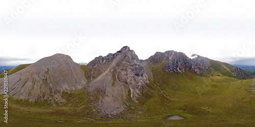 Foto op Aluminium Wit Landscape of the Caucasus mountains, the view from the height of bird flight.