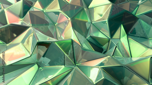 Fototapety, obrazy: Green crystal background with triangles. 3d illustration, 3d rendering.