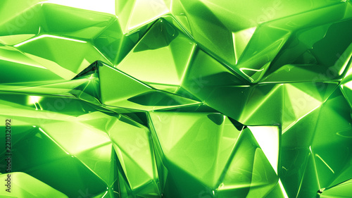 Cuadros en Lienzo Green crystal background with triangles