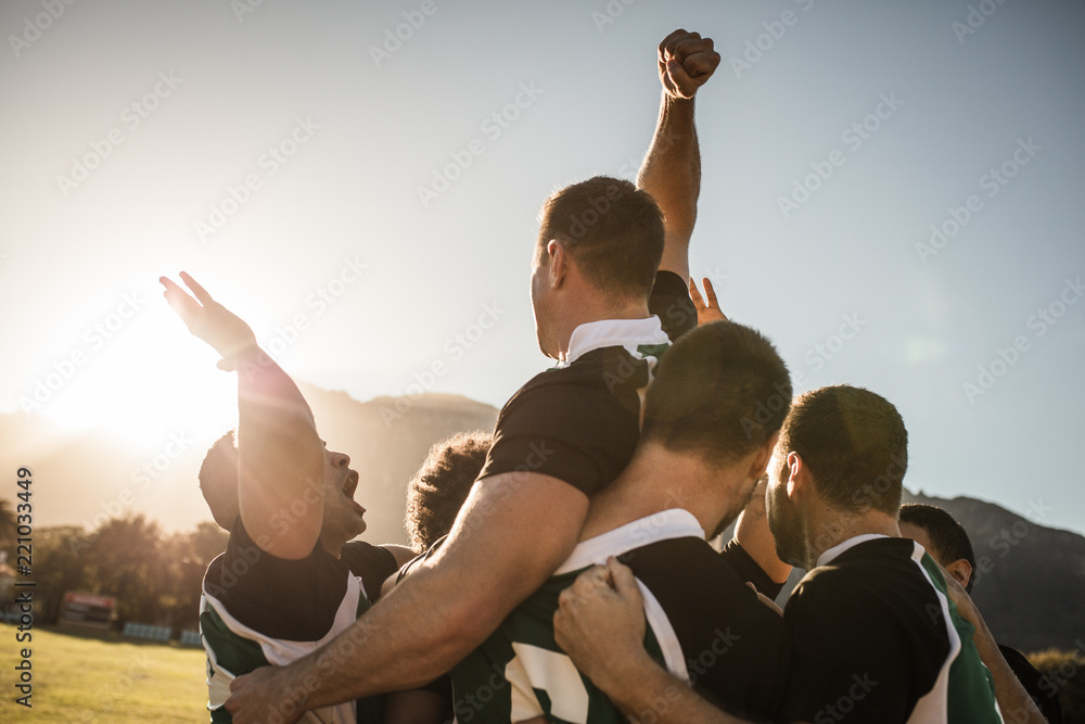 Fototapety, obrazy: Rugby team celebrating the victory