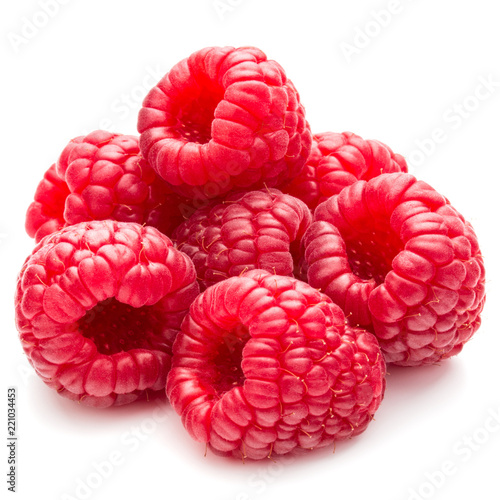Fényképezés  ripe raspberries isolated on white background close up