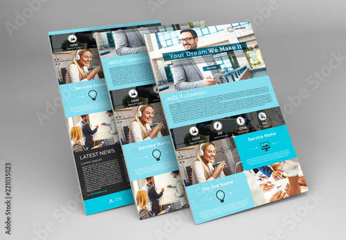 web newsletter layout with blue accents buy this stock template and