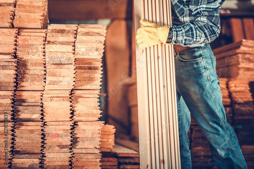 Valokuva  Contractor with Planks