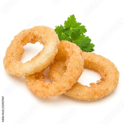 Fotografía  Crispy deep fried onion or Calamari ring isolated on white background