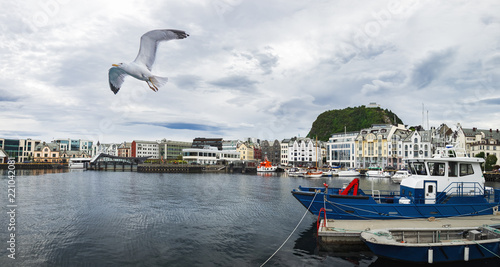 Tuinposter Stad aan het water Old architecture of Alesund port town on the west coast of Norway, at the entrance to the Geirangerfjord. Summer view of pier with moored boats and Seagull flying over the water.