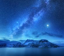 Bright Milky Way Over Snow Cov...