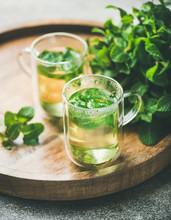 Hot Herbal Mint Tea Drink In G...