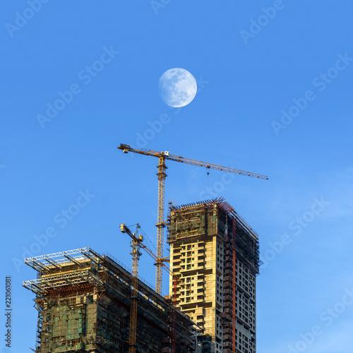 Deurstickers Stad gebouw Skyscraper construction site