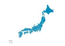青色の日本地図