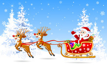 Santa On Sleigh With Deer 1.Santa Claus And Deer In The Winter Forest On The Eve Of Christmas