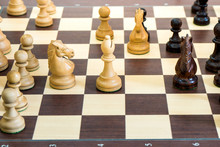 Wood Chess Pieces On Board Gam...