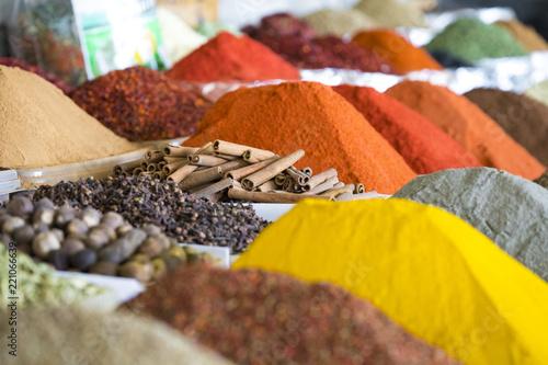 Foto op Canvas Aromatische Traditional bazaar with spices in Tashkent, Uzbekistan.