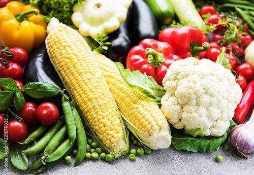 Keuken foto achterwand Waterverf Illustraties different raw vegetables