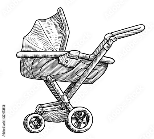 Pram illustration, drawing, engraving, ink, line art, vector Canvas Print