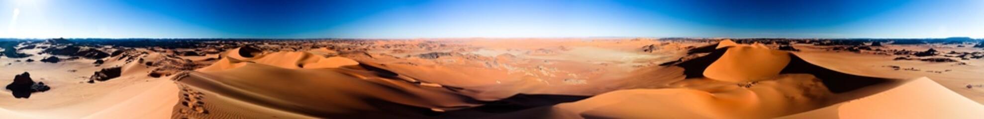 360 sunset panoramic view to Tin Merzouga dune at Tassili nAjjer national park in Algeria