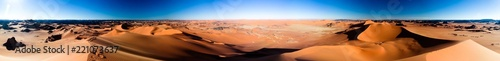 Photo sur Aluminium Desert de sable 360 sunset panoramic view to Tin Merzouga dune at Tassili nAjjer national park in Algeria
