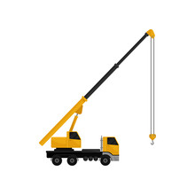 Mobile Hydraulic Crane Truck, Cargo Transportation Service Vector Illustration On A White Background